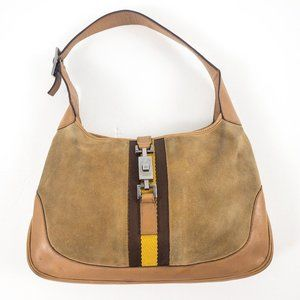 Gucci Leather Suede Shoulder Hobo Bag Tan AS-IS